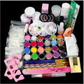 New Full 25 Nail Art Acrylic Powder Primer Glitte Liquid TIP Brush Glue Dust KITS