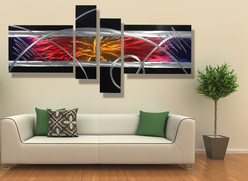 Modern contemporary abstract painting,metal wall art ...