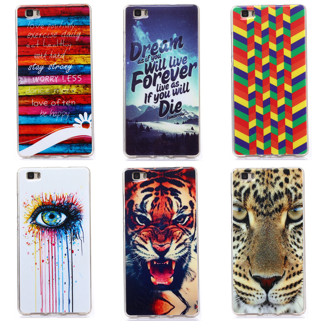 Case For Huawei P8 P8 Lite Transparent Ultra-Thin Silicone Colorful Printing Drawing Phone Cover For Huawei P8 PC-080