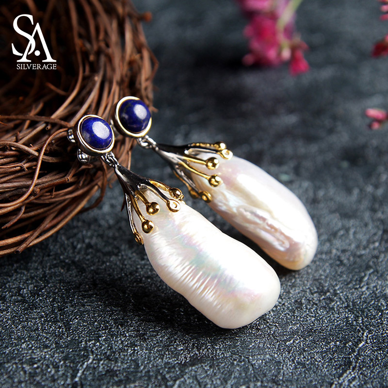 S925 Earrings Fashion Jewelry Baroque Pearl 925 Silver Round Drop Earrings for Woman 925 Silver Earrings