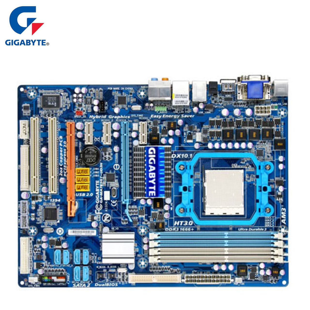 Gigabyte GA-MA785GT-UD3H Motherboard For AMD 785G DDR3 USB2.0 16GB Socket AM3 MA785GT UD3H Desktop Mainboard Systemboard Used gigabyte ga ma785gmt us2h original used desktop motherboard amd 785g socket am3 ddr3 sata2 usb2 0 micro atx