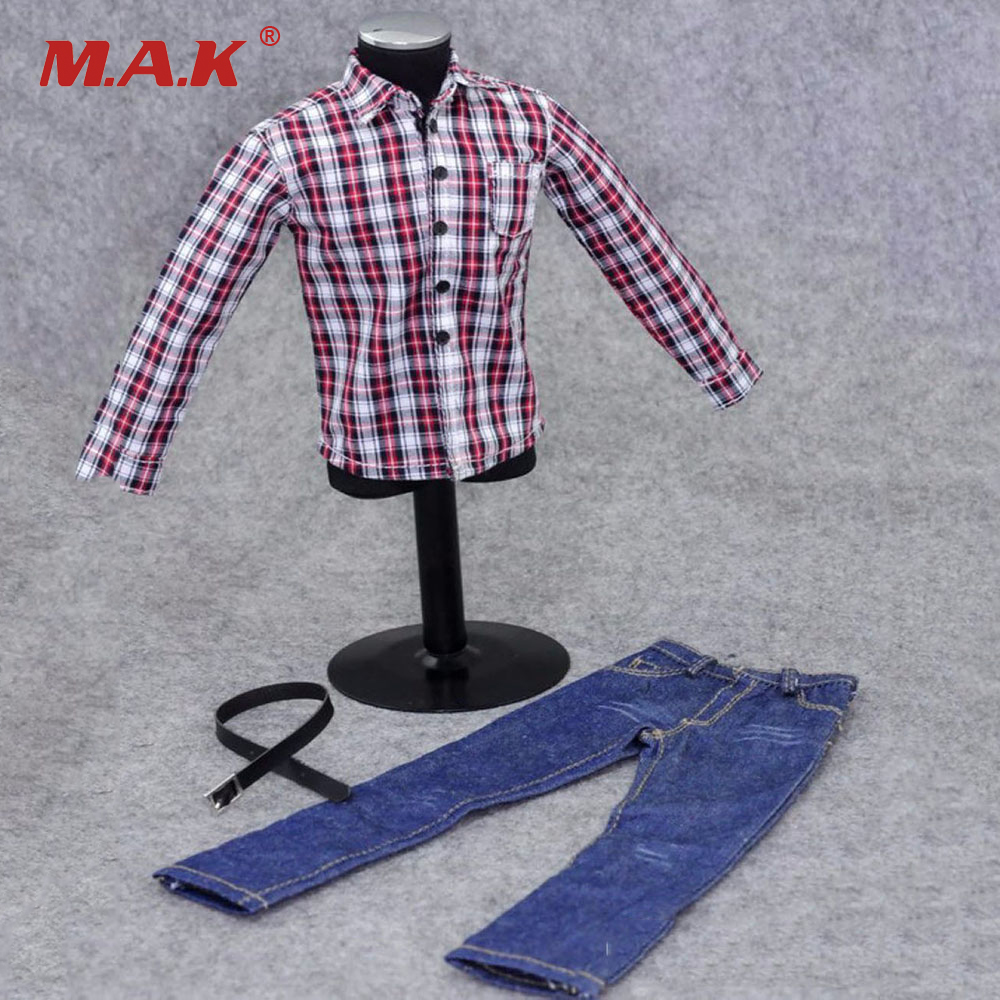 1/6 Scale Male Casual Clothing Model Toys Red White Plaid Shirt Blue Jeans Pants Model  For 12  Action Figure Body Accessory 1 6 scale male action figure model toys super flexible seamless muscle body pl2016 m33 for collections