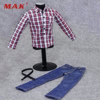 1/6 Scale Male Casual Clothing Model Toys Red White Plaid Shirt Blue Jeans Pants Model For 12