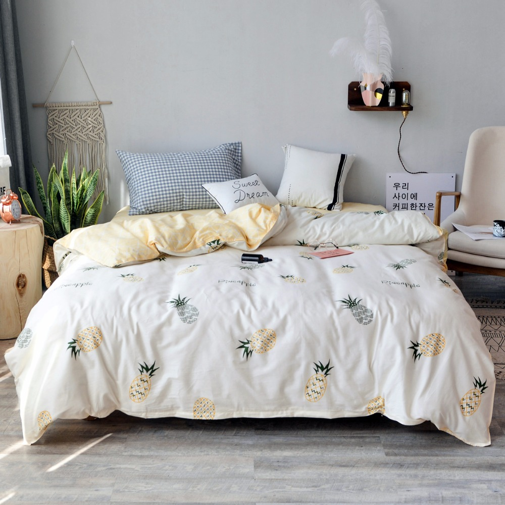 Pale Yellow Pineapple Pattern Cotton Duvet Cover Queen King Size Comforter Cover With Zipper 1 Piece Single Double Quilt Cover