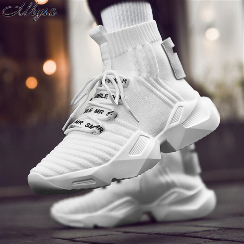 Mhysa 2019 New spring and autumn fashion mens shoes high to help socks shoes wild solid color mens casual shoes sneakers L175Mhysa 2019 New spring and autumn fashion mens shoes high to help socks shoes wild solid color mens casual shoes sneakers L175