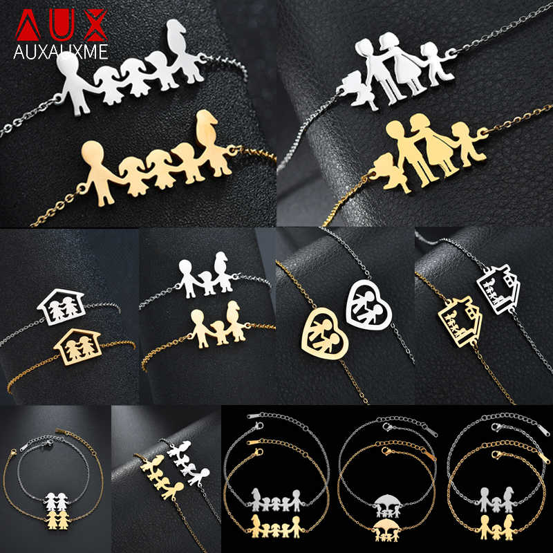 Auxauxme Top Quality Stainless Steel Family Bracelet Father Mother Girl Boy Family Gathering Gift Simple Style Figure Bracelet