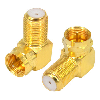 "100 Pieces F Male Plug to F Female Jack Right Angle Adapter Connector Goldplated 90 Degree Coax TV ""F"""