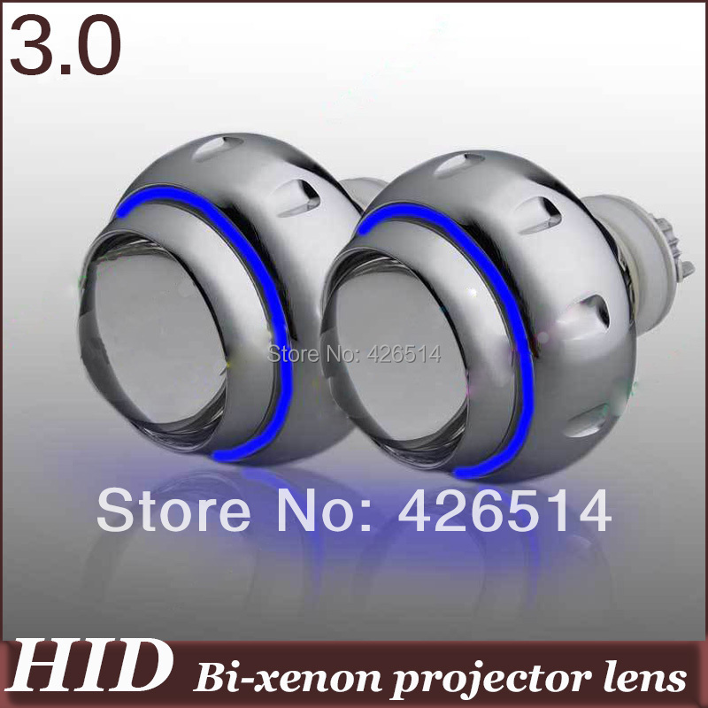 3 inch 35w 3000k 6000k 4300k H1 H4 H8 H7 9005/6 Bi-xenon Projector Lens white blue yellow purple Angel Eye for car headlight royalin car styling hid h1 bi xenon headlight projector lens 3 0 inch full metal w 360 devil eyes red blue for h4 h7 auto light