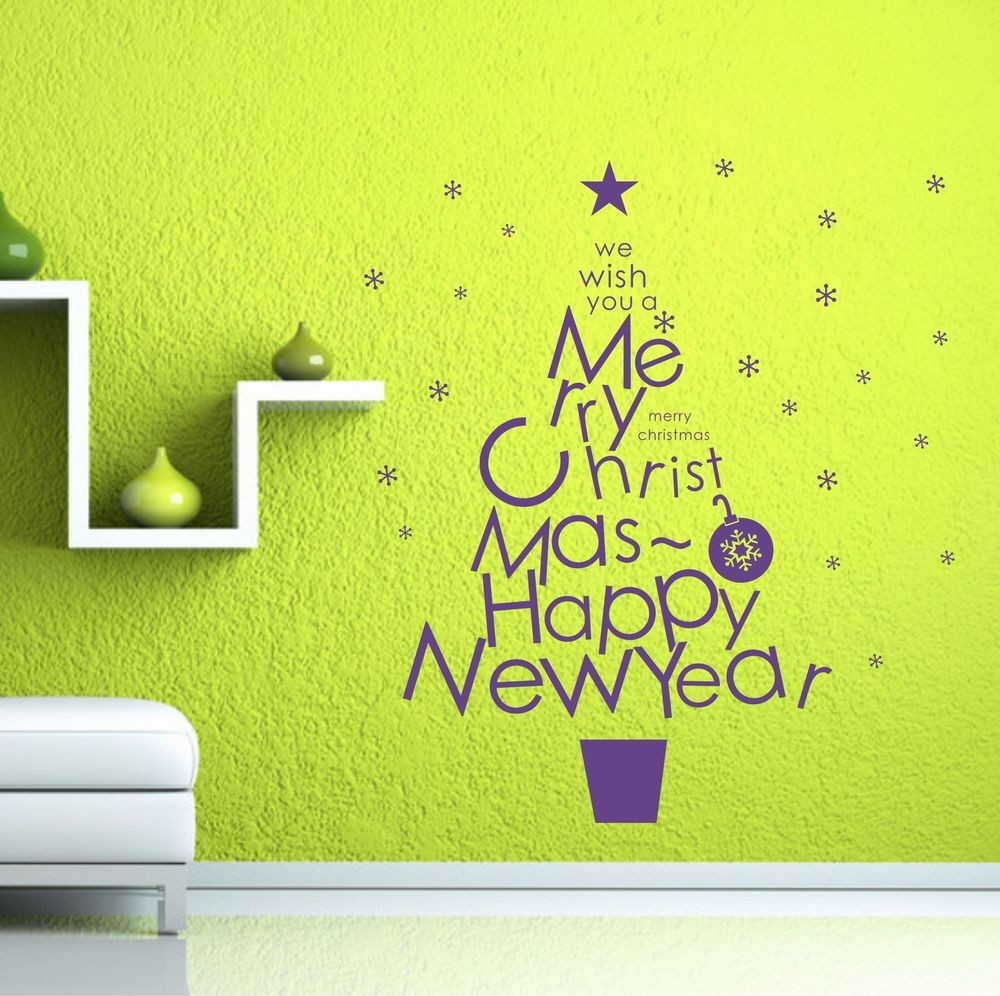 Xmas Merry Christmas U0026 Happy New Year Quote Glass Shop Window Decal Winter  Family Home Mural In Wall Stickers From Home U0026 Garden On Aliexpress.com |  Alibaba ...
