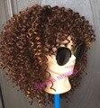 !2016 новые средней длины афро кудрявый курчавый парик синтетический парик для женщин с волосами младенца