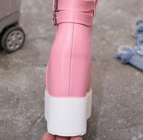 En blanc Boucle Casual forme Hauteur Femmes Noir Printemps Chaussures Cm Chaud 12 Croissante Dames Avec Nouvelles Cheville Bottes Haute Automne Peluche rose Noir Plate twqtIHgxz