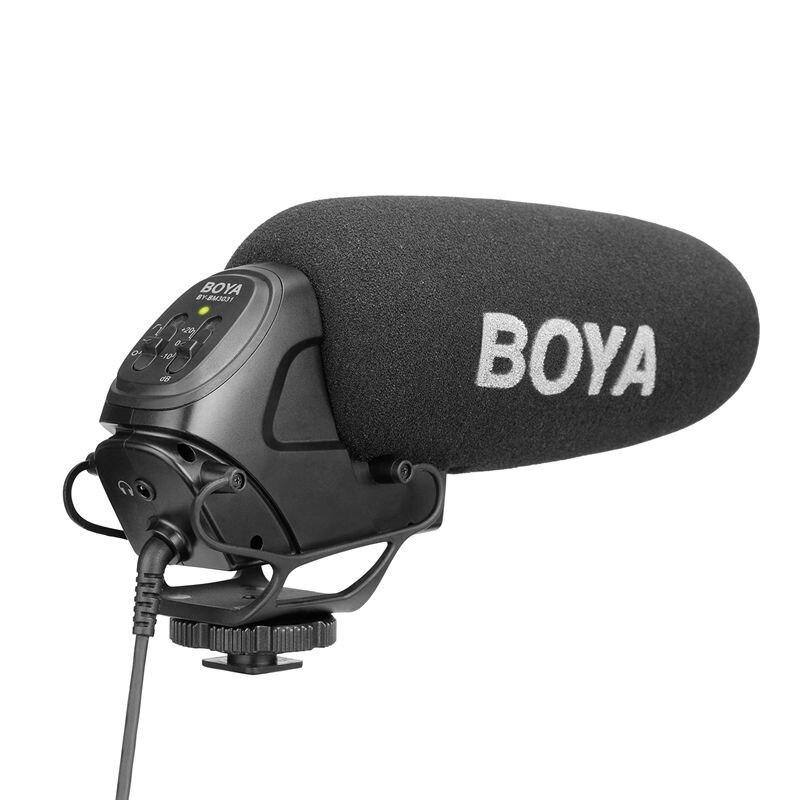 BOYA BY-BM3031 On-Camera Shotgun Microphone 3-Level Gain Control Condenser Mic for DSLR Audio Recorders Studio Video Interview