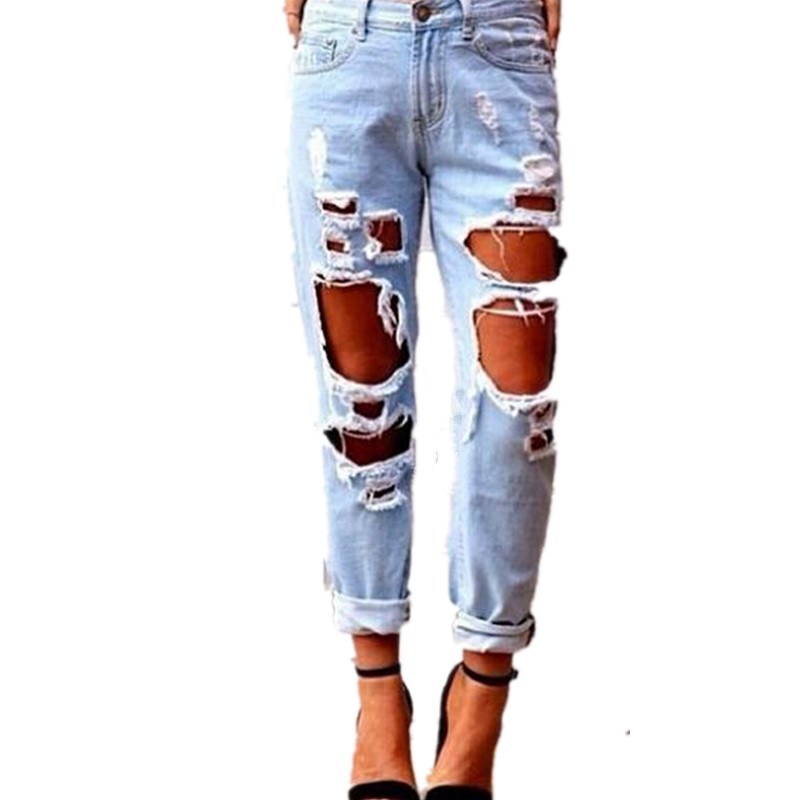 Sexy Ripped Jean Boyfriend Femme Hole Denim Pants Long Light Blue Women's Jeans Loose Straight Distressed Trousers jeans men slim straight ripped jeans male hole jean pants casual denim trousers high quality all match long men s biker jean 54