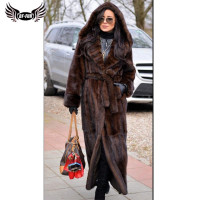 BFFUR Thick Super Long Hooded Mink Fur Coats With Belt For Women Luxurious Parka Real Fur Coats From Natural Fur Winter Palace
