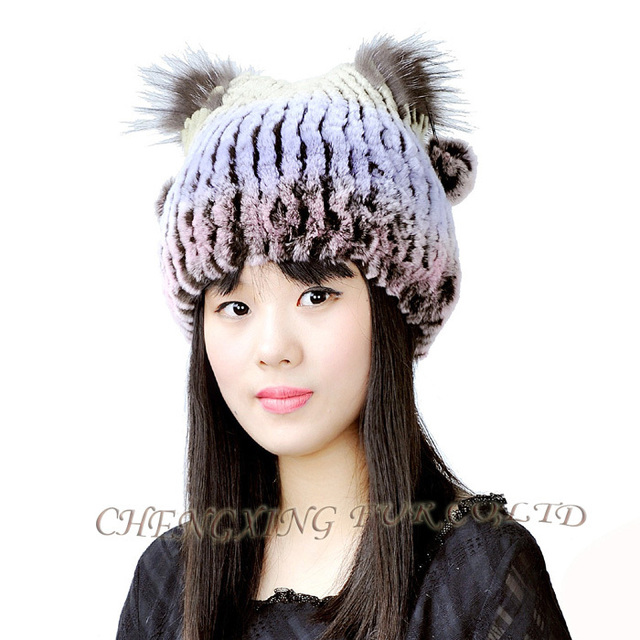 0558431a339 CX C 113B Women Fashion Rex Rabbit Fur Knitted Winter Sex Girl Hat ...