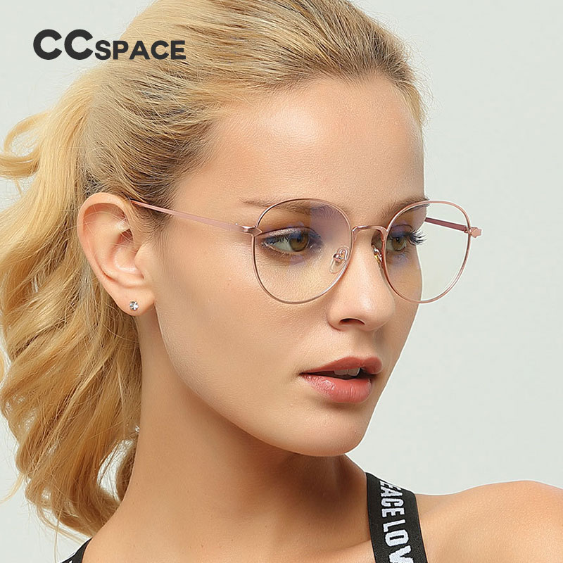 CCSPACE Metal Oval Ladies Glasses Frames For Women Arrow Round Brand Designer Optical EyeGlasses Fashion Eyewear 45152