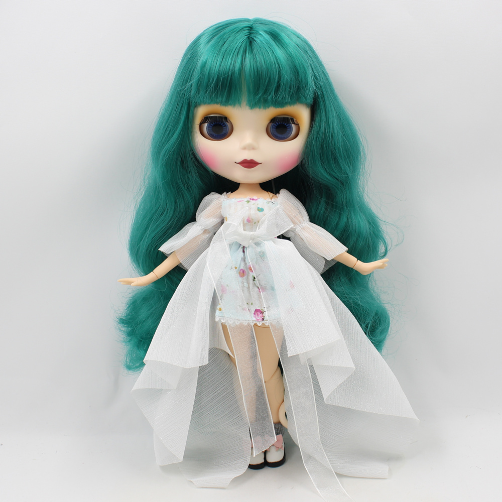 Blythe Nude Doll 12 inc Factory Jointed Body White Skin /& Green Hair Matte Face