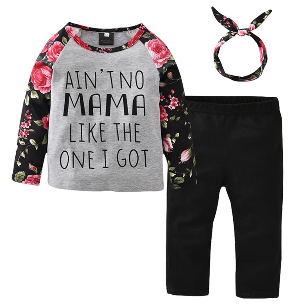 цена 1 2 3 4 5 Year Toddler Girl Clothes Spring Fall Floral Girls Clothing Set Tops Pants Headband 3Pcs Cotton Children Kids Suits