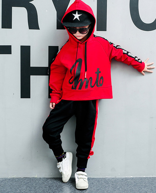For 6 8 10 12 14 Years Children's sets Autumn boys fashion long sleeve hooded Hoodies + Haren Sweatpants vetement garcon outfits 1