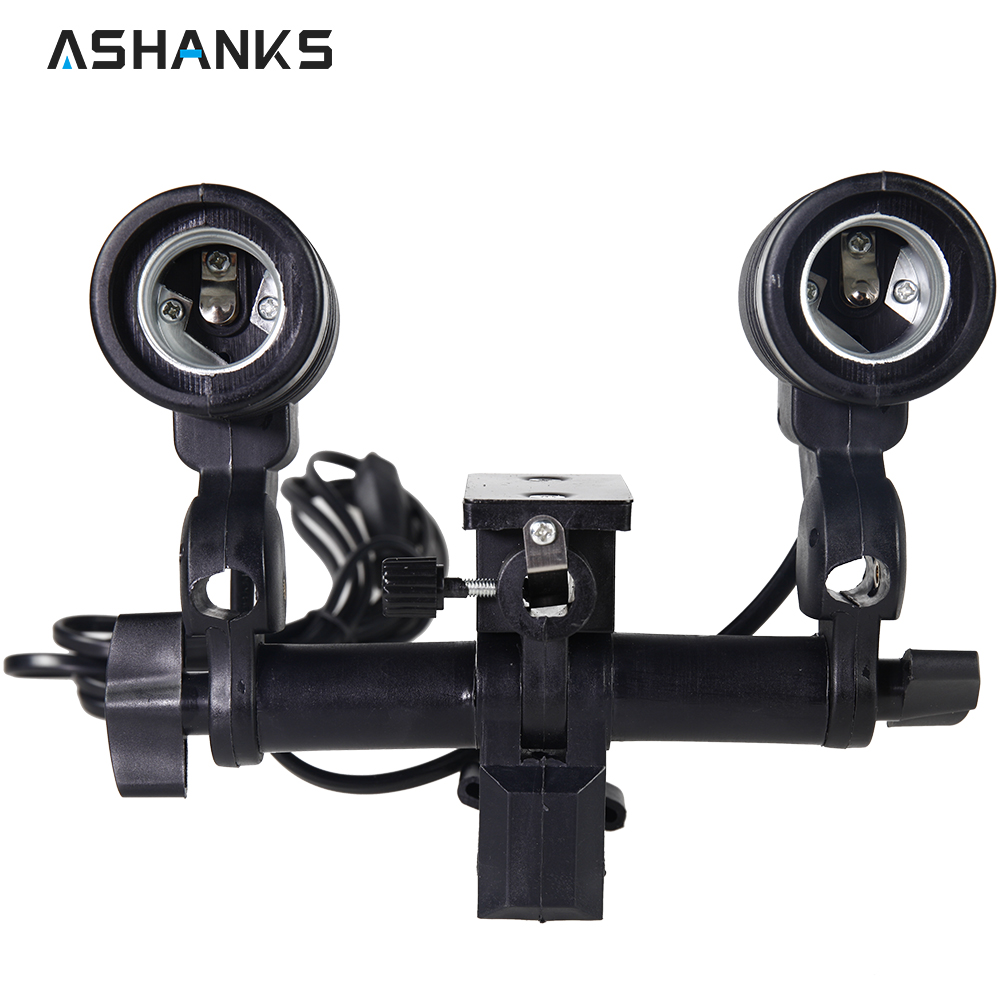ASHANKS Photo Studio E27 Double Bulb Socket AC Swivel Adapter Light Stand Mount Umbrella lamp Holder for Photography Accessories