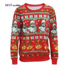Autumn/winter cloth VOT7 vestitiy Women Long Sleeve Pullover Sweatshirt Santa Claus Christmas Shirt Blouse Clothes Oct 19
