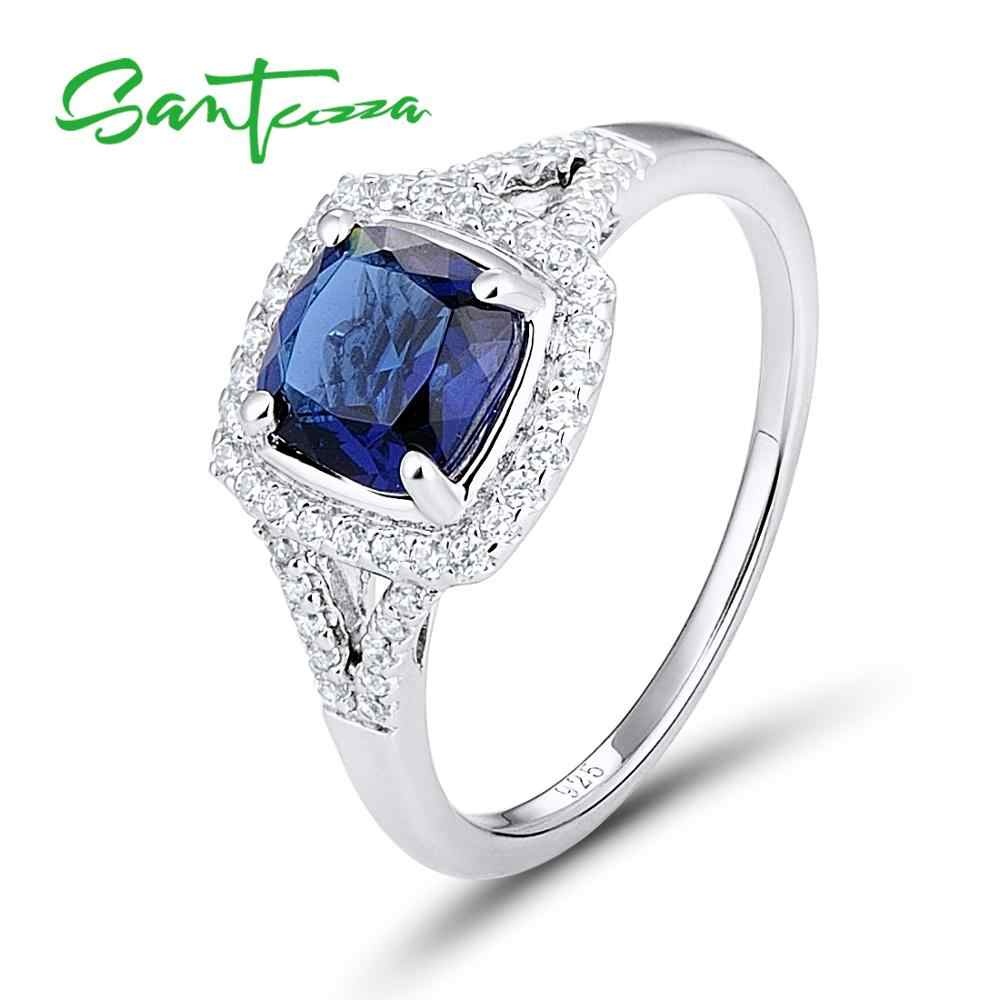 Silver Rings for Women Engagement Wedding Ring Cushion Blue and White Cubic Zirconia Pure 925 Sterling Silver Fashion Jewelry