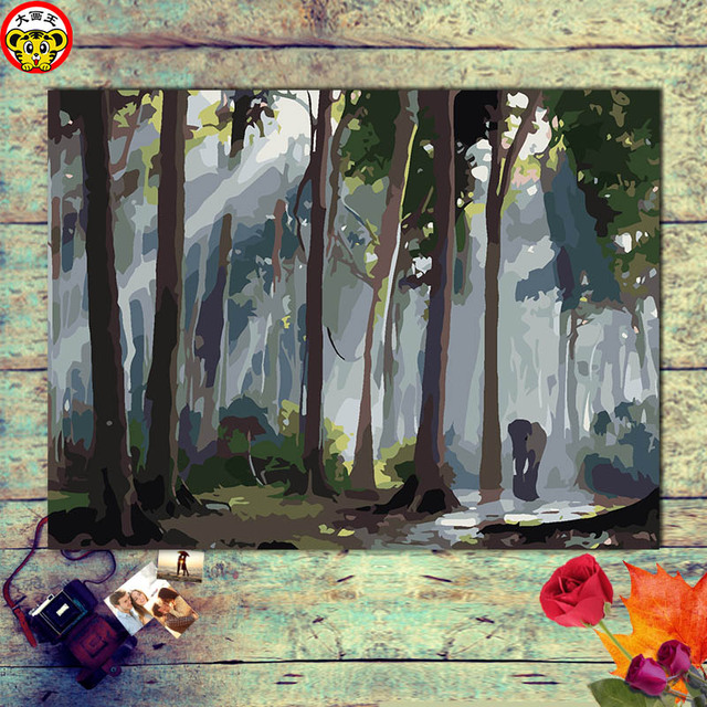 US $8 25 45% OFF|painting by numbers art paint by number Elephants hurrying  alone in the lush jungle picture by numbers-in Paint By Number from Home &