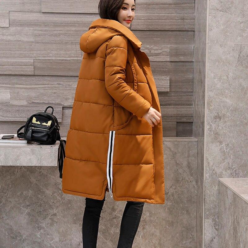 Winter Warm Thicken Long Parkas 2017 Fashion Slim Hooded Cotton Padded Jacket Big Pocket Women Coat Zipper Basic Tops