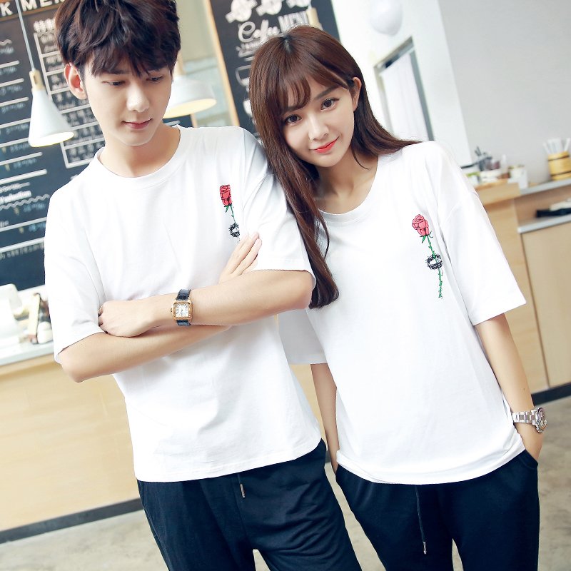 af4817ab71 Couples Clothes Lovers Cute Sweet Tops Designer Loose Casual T Shirt White  Floral Printed Korean Matching T Shirts For Couple-in T-Shirts from Women's  ...