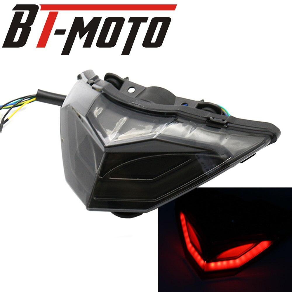 Motorcycle ABS Smoke LED Brake Taillight Turn Signal Indicator Rear Lamp For Kawasaki Ninja 250R 300 EX300 Z250 Z300 2013-2015