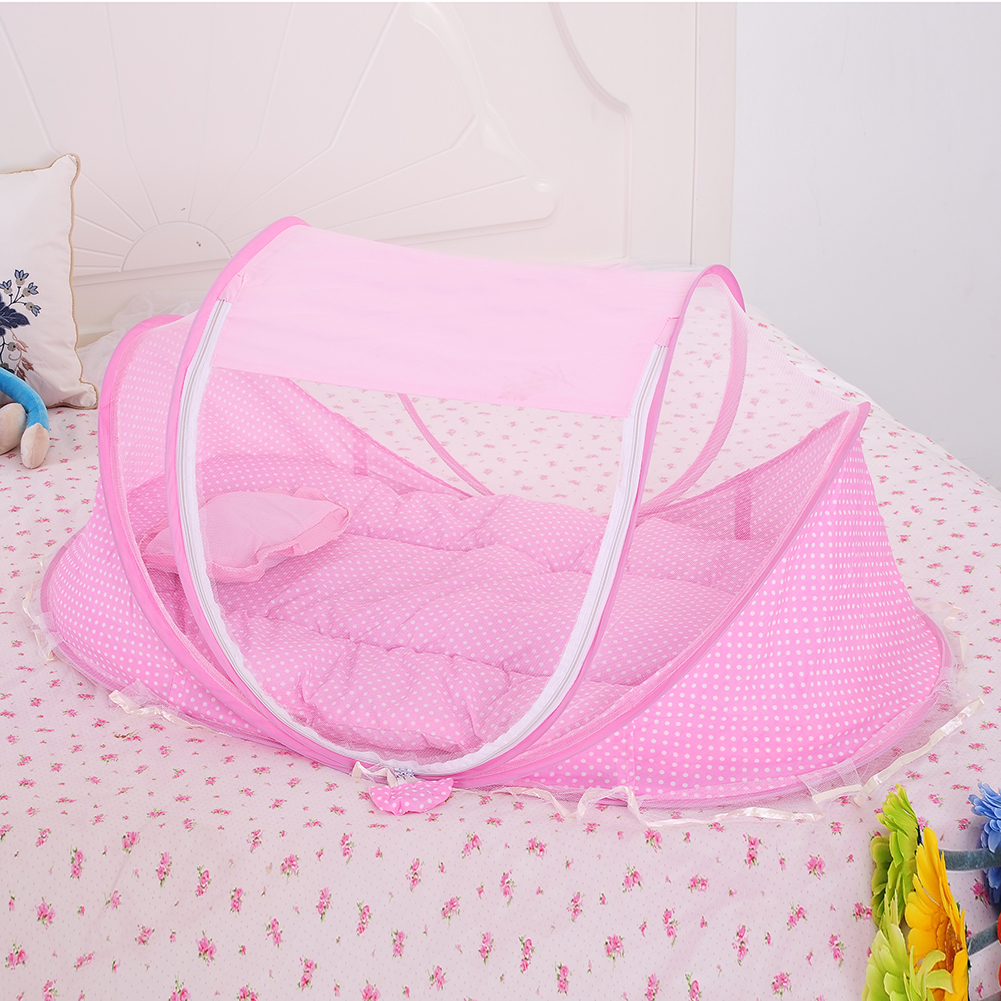 3pcs/set Nets+ Pillow+ Pad Folding Infant Baby Music Mosquito Nets Bed Mattress Pillow Three-piece Suit For 0-2 Years Baby