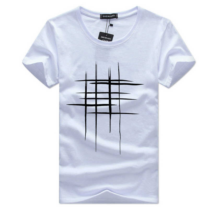 77d9075bbe Simple Style Men's Casual T Shirt Plaid Grids Pattern Large Size Man O Neck  Short Sleeve
