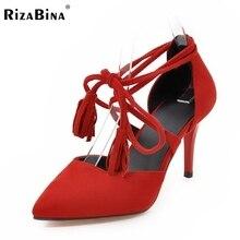 Размер 33-43 Женская Мода Высокие Каблуки Обуви женщин Крест Ремень Острым Носом Насосы Тонкие Каблуки Sexy Party дамы Кисточкой Обувь