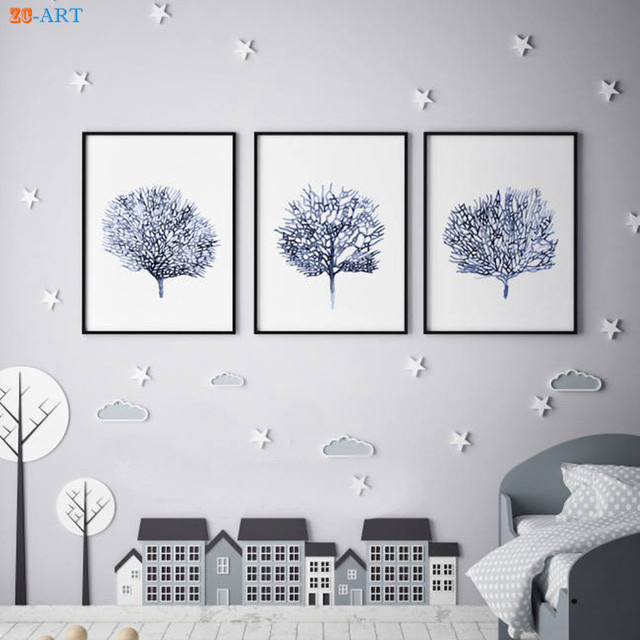 Nordic Coral Watercolor Prints Sea Fan Poster Navy Blue Wall Art ...