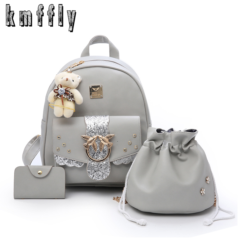 Fashion Women Backpack 3 Set High Quality Youth Leather Backpacks for Teenage Girls Female School Shoulder Bag Bagpack Mochila стоимость