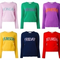 WHITNEY WANG 2017 Spring Fashion Streetwear rainbow week Letters Sweater Women Pullovers pull femme jumper