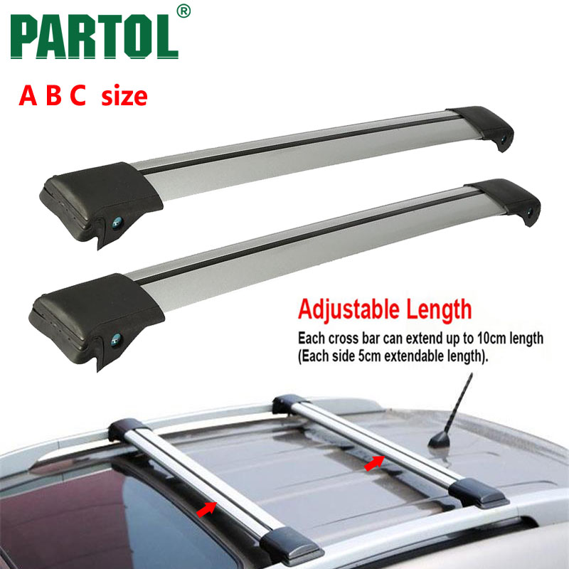 Partol 2pcs Universal A B C <font><b>Car</b></font> Roof Rack Cross Bars Roof Luggage Carrier Roof Rail Bike Rack Anti-theft Lock System 150LBS/68KG