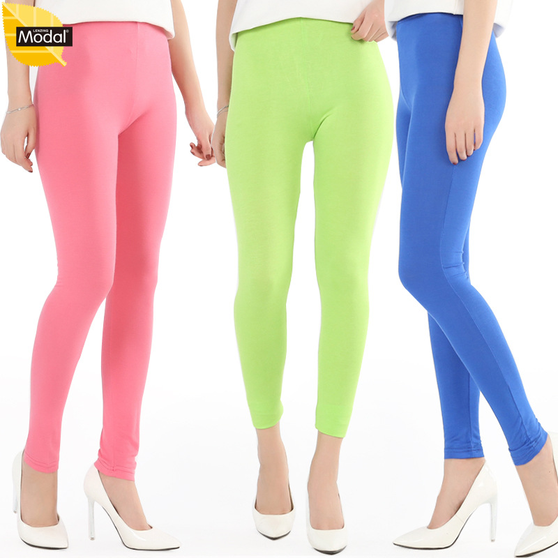 New Arrival Summer Style  Big Elastic Plus Size 7XL Big Size Candy Color Modalleggings Women Pants