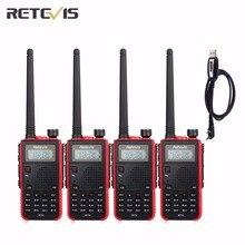 4X Walkie Talkie Retevis RT5+A Programming Cable Dual Band VHF/UHF Handsfree Amateur Radio Portable Ham Two Way Radio Set