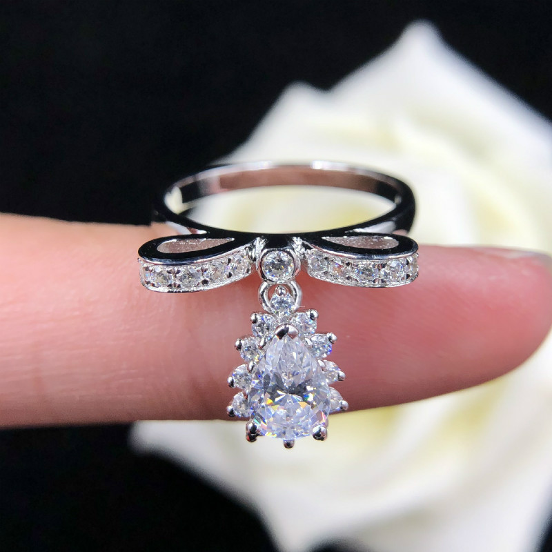 0 8ct Carat Bowknot Rings for Women AAAAA High Quality NSCD Luxurious Wedding Rings 925 Silver White Gold Color Jewelry in Rings from Jewelry Accessories