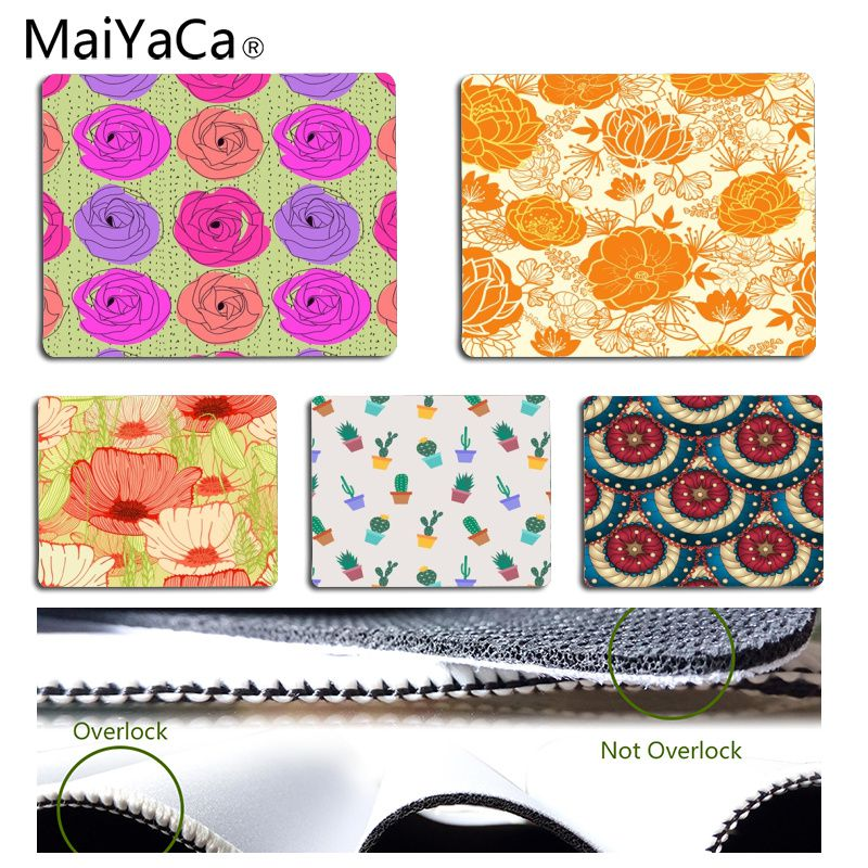 MaiYaCa Non Slip PC Cactus and flower Customized laptop Gaming mouse pad Size for 18x22cm 25x29cm Rubber Rectangle Mousemats