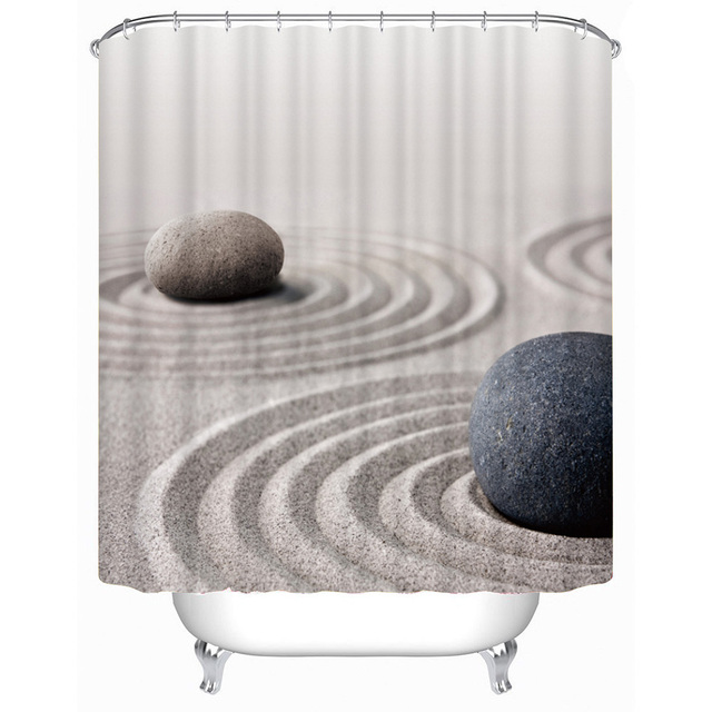 Fabric polyester stone sand waterproof thicken shower curtain SPA ...