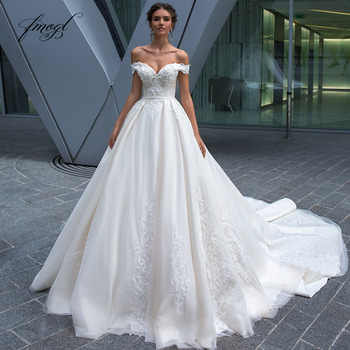 Fmogl Sexy Backless Boat Neck Princess Wedding Dresses 2020 Luxury Appliques Beaded Sashes Court Train Vintage Bridal Gowns - discount item  28% OFF Wedding Dresses