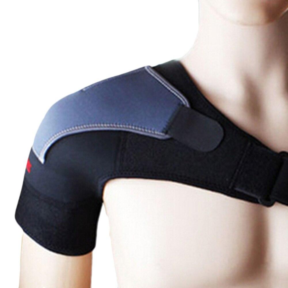 Gym Sports Care Single Shoulder Support Back Brace Guard Strap Wrap Belt Band Pads Black Bandage Men Women Drop Shipping