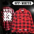 Грязно-белый 13 мужчин плед мужчины женщины футболки Новый хип-хоп модной одежды с длинными рукавами высокого качества плед платье camisa социальной рубашка
