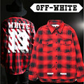 Off white 13 men plaid men women shirts New hip hop fashion wear long sleeved high quality plaid dress camisa social shirt