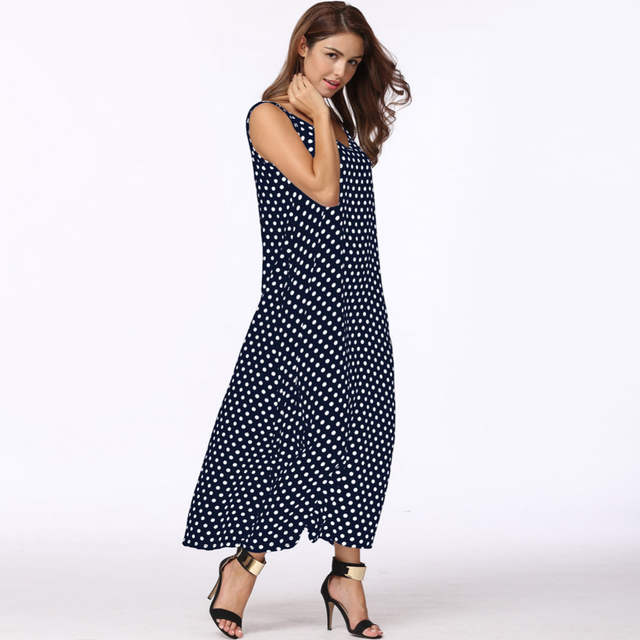 Anself 2018 Fashion Women s Polka Dots Maxi Dress Long Casual Summer Beach  Chiffon Party Dresses Robe b5c6e82ece54