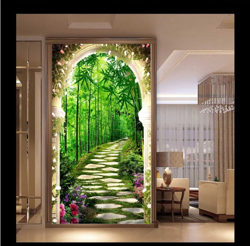 5D Diy Home Entrance Decorative Diamond Painting Diamond Embroidery Deep Bamboo Forest Landscape Pasted Beads Cross