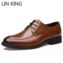 LIN KING New Big Size 47 Breathable Men Casual Shoes Lace Up Low Top Genuine Leather Oxford Shoes Man Business Office Work Shoes
