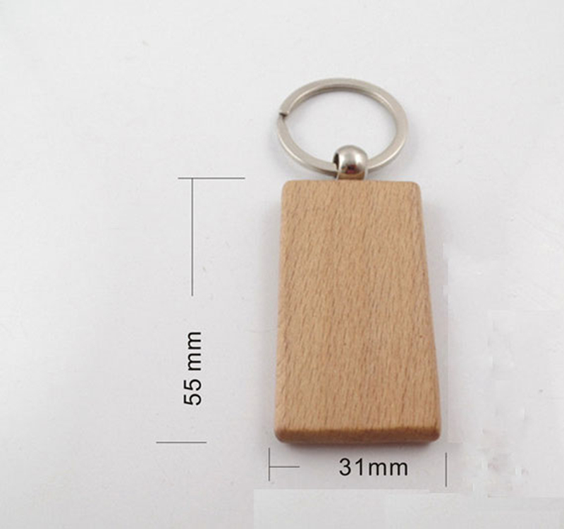 Image 2 - 50pcs Blank Wooden Key Chain Promotion Rectangle Carving Key ID can Engrave DIY 2.2*1.2Key Chains